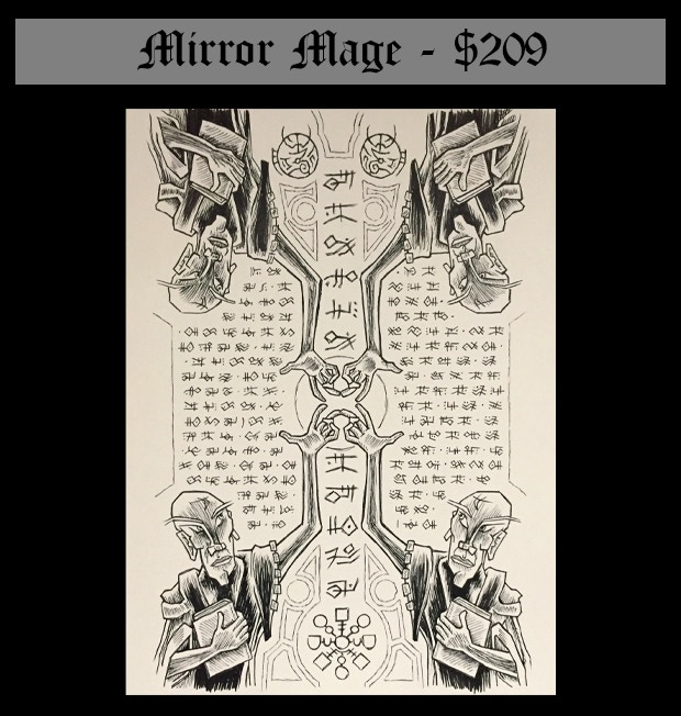 """This is the original line drawing for the Mirror Image scroll (8.5"""" by 11.25"""" on 80lb Strathmor drawing paper) plus the content of the Wizard's Library."""