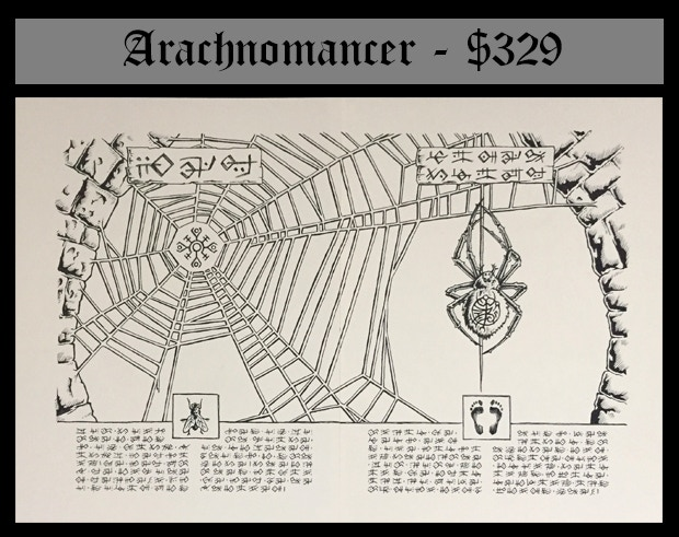 """This is the original line drawing for the Web and Spider Climb scrolls (Two sheet of Strathmore drawing paper taped along the back with acid free artist's tape. Approx 17"""" by 11.5"""" total) plus the content of the Wizard's Library."""