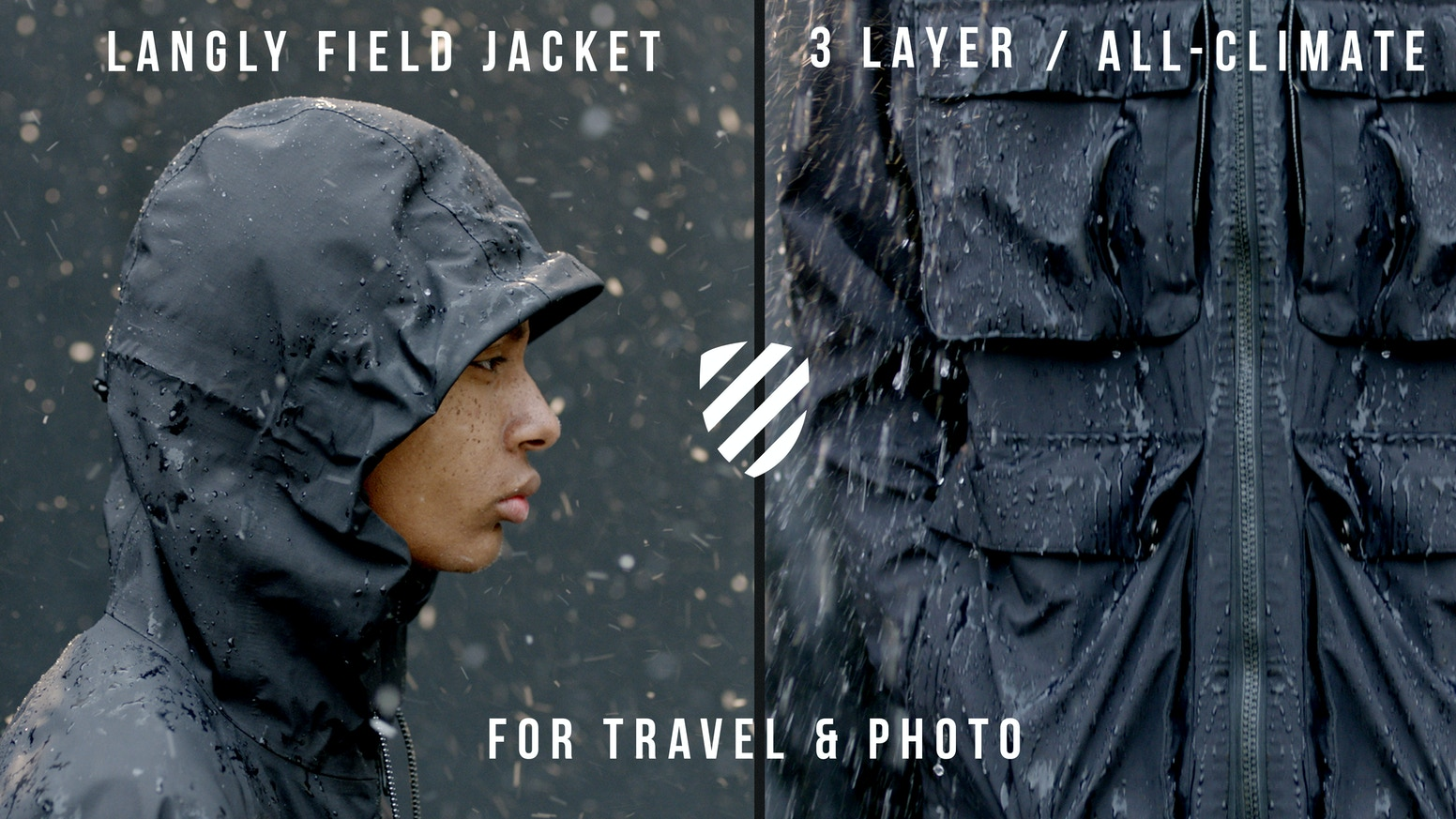 LANGLY FIELD JACKET, the world's most Versatile 3-Layer weather-proof jacket. Complete protection from RAIN, WIND and SNOW.