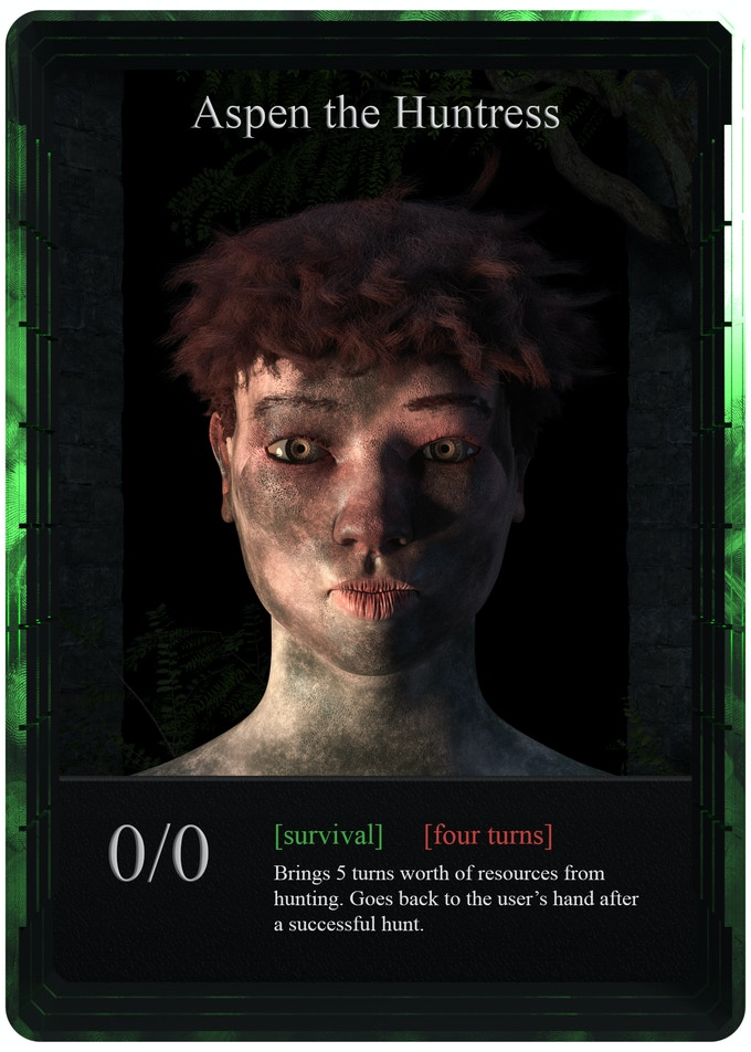 Huntress is another way to gather resources. She is more risky, but more rewarding too. There will be 4 of them in one player's deck.