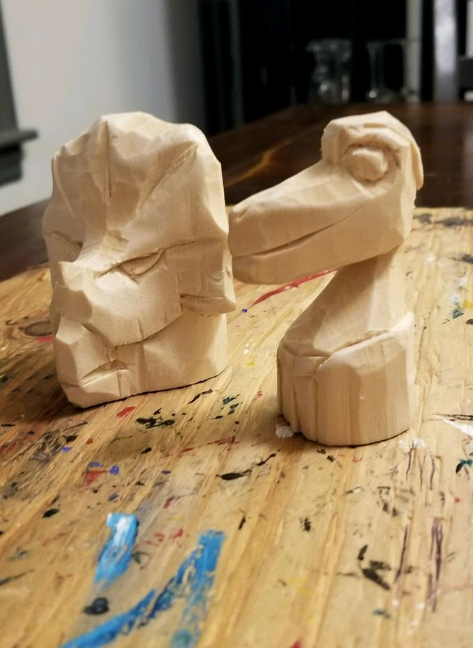 Exclusive Hand-Carved Set of Gus and Owen Figures by Dan Willner of Spandex Splinters! Only 2 sets available! *Figures in progress. They will be painted and stained. Updates will be posted. See https://spandexsplinters.wordpress.com for painted examples.
