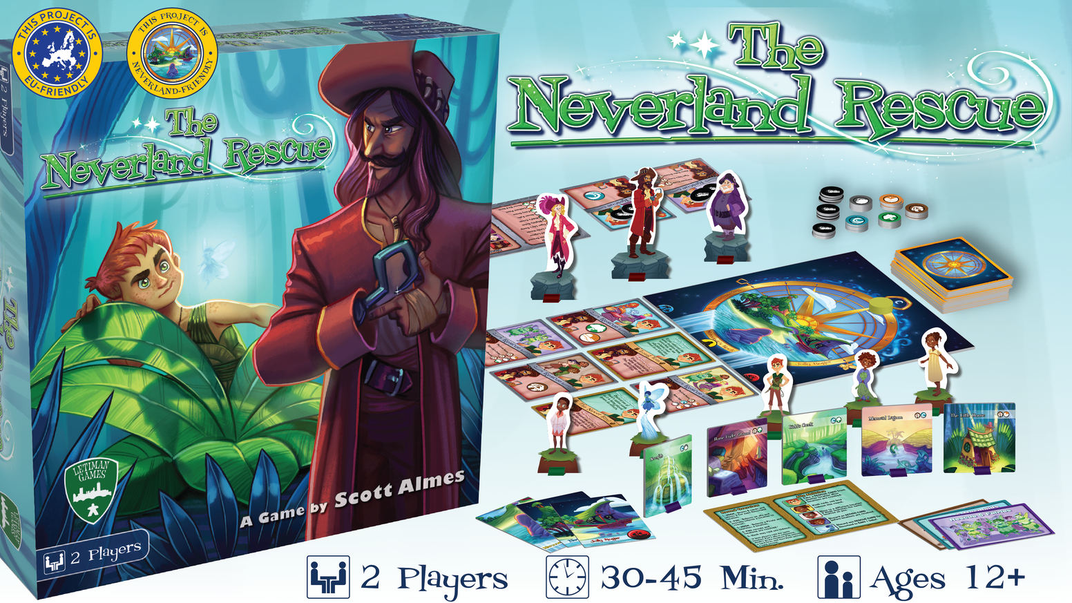 An asymmetrical 2p only game; one player is Peter Pan & one is Captain Hook. Who will win this ~45 min battle for control of Neverland?