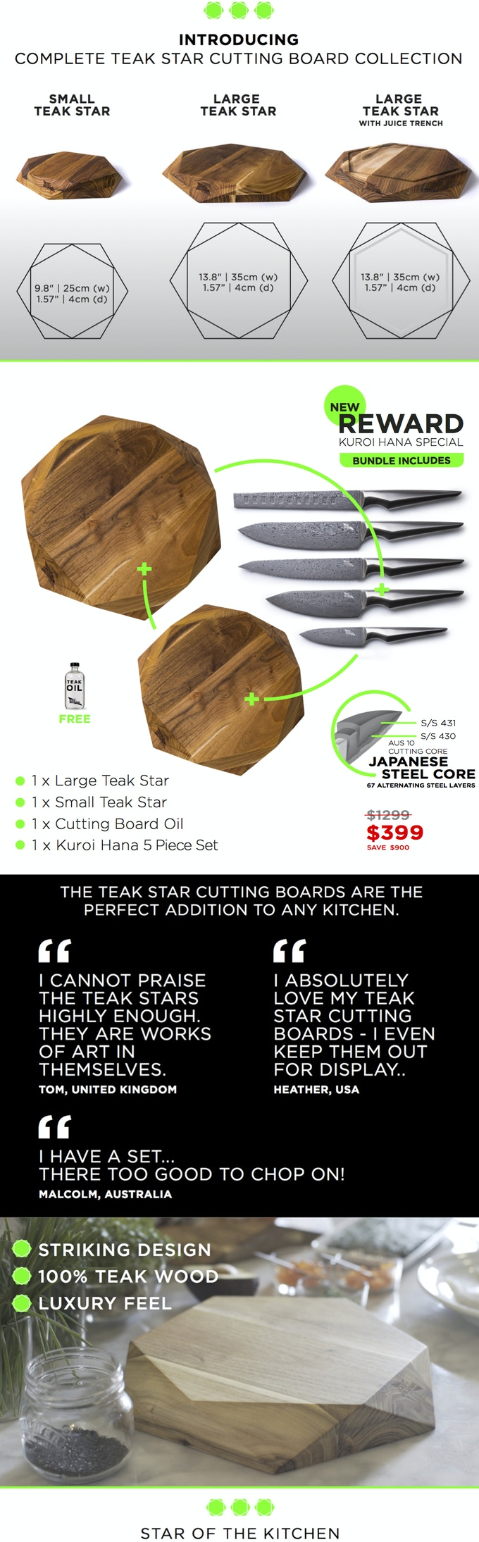 TEAK STAR CUTTING BOARD COLLECTION by EDGE of BELGRAVIA by Edge of