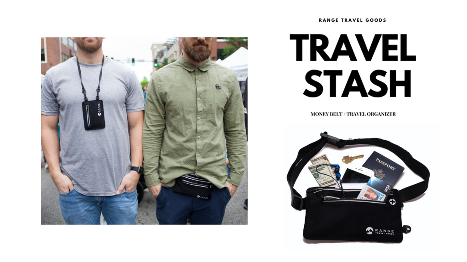 The Travel Stash - A minimal and secure way to carry your most valuable belongings. Use it while travelling, working out, or everyday