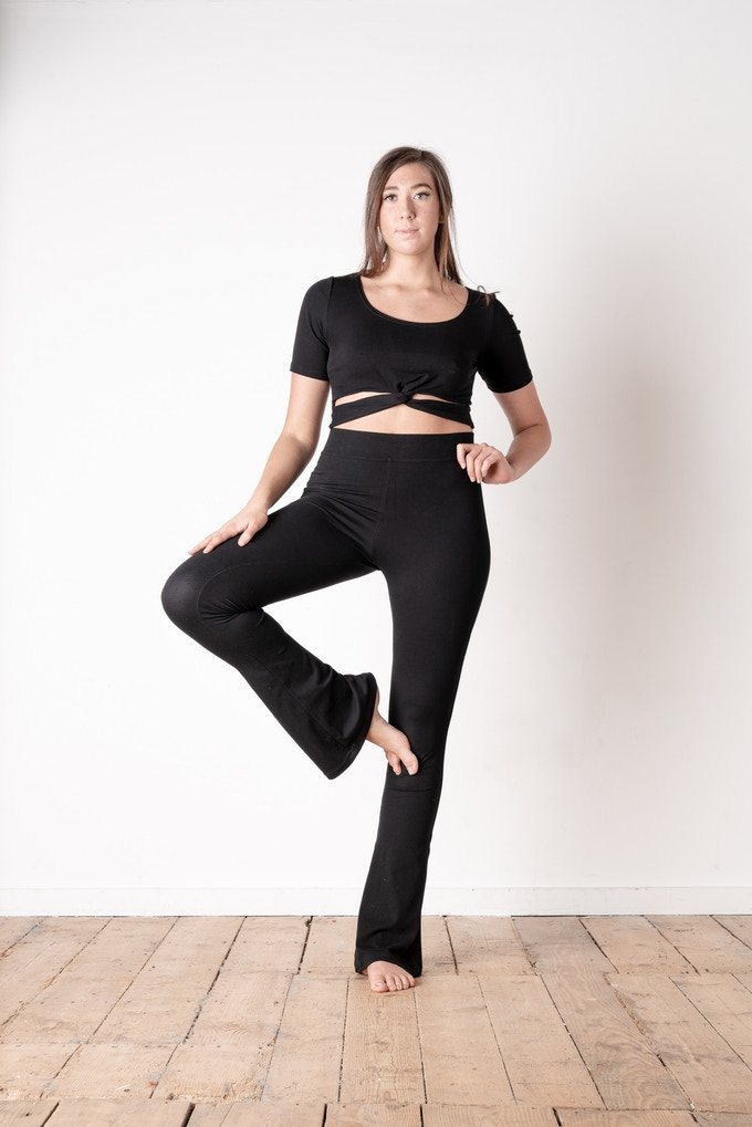 Twist Front Top / Flared Leggings (Front)