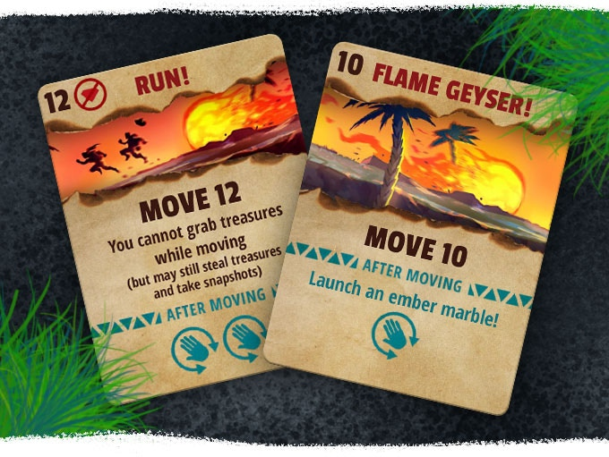 On your turn, play one of your two action cards to move your pawn and perform a special action.