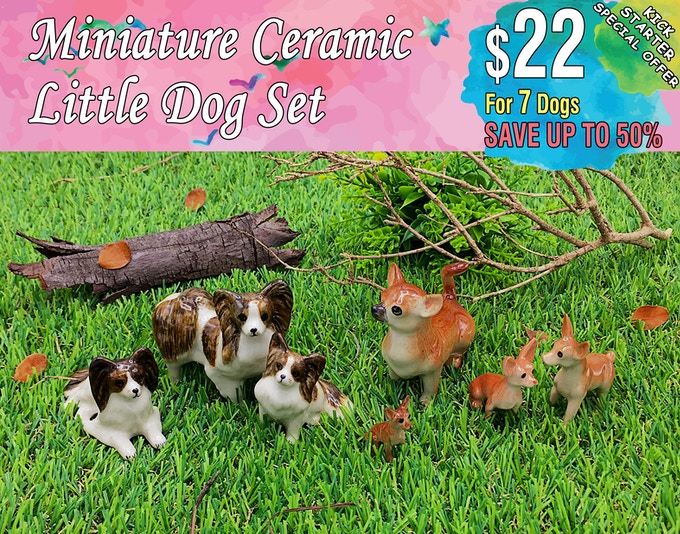 Little Dog Set Includes; Papillon(3 dogs), Chihuahua(4 dogs).