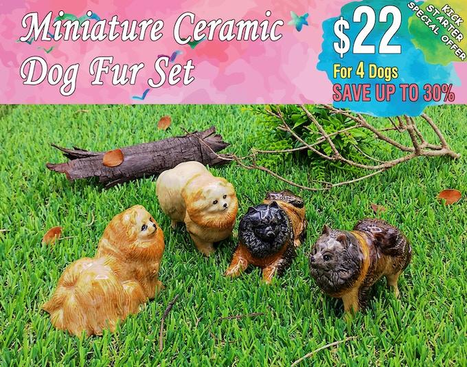 Dog Fur Set Includes; Pomeranian(2 dogs), German Spitz(2 dogs).