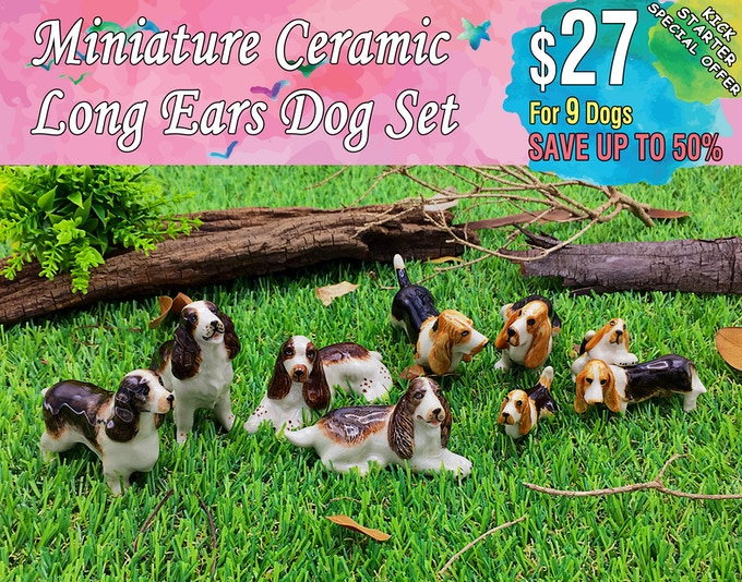 Long Ears Dog Set Includes; English cocker spaniel(4 dogs), Basset Hound(5 dogs).
