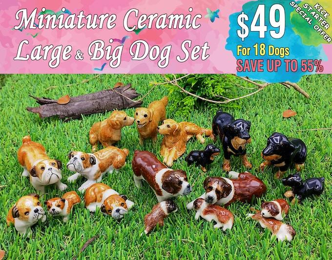 Large & Big Dog Set Includes; Golden retriever(3 dogs), Rottweiler(4 dogs), English bulldog(5 dogs), Saint bernard(6 dogs).