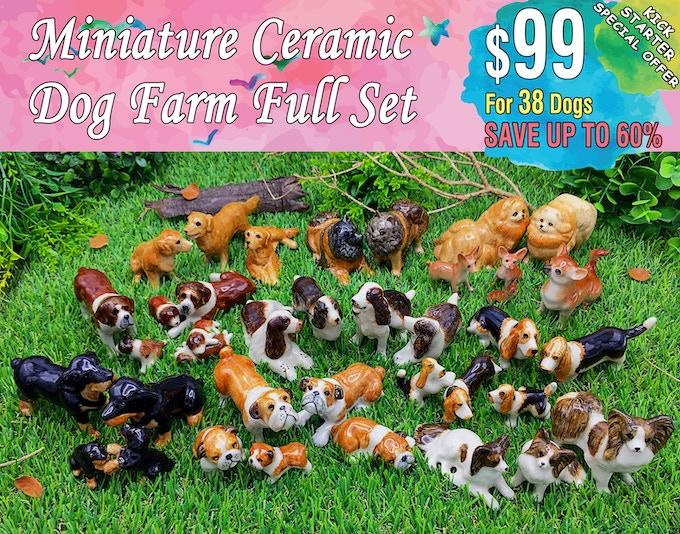 Full Set Includes; Golden retriever(3 dogs), Rottweiler(4 dogs), Chihuahua(4 dogs), Papillon(3 dogs), English cocker spaniel(4 dogs), Basset Hound(5 dogs), Pomeranian(2 dogs), German Spitz(2 dogs), English bulldog(5 dogs), Saint bernard(6 dogs).