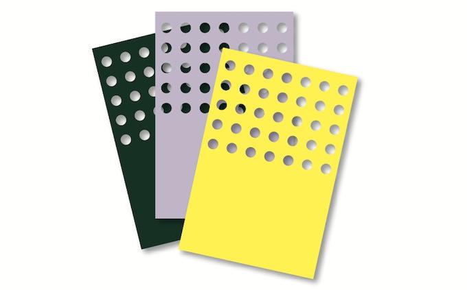 """design """"trous"""" in 3 colors, 10x15cm"""
