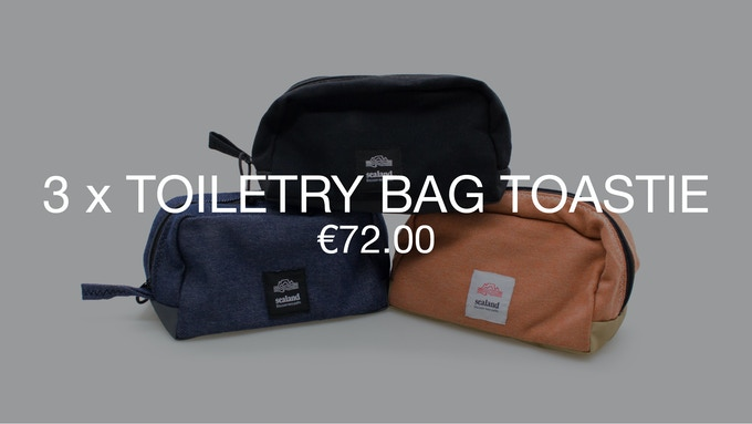 Pledge €72 or more and receive a Thank You + 3 Toiletry Bag Toasties at 40% discount (RRP ±€126).