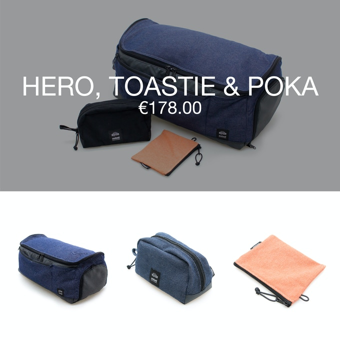 Pledge €178 or more and receive a Thank You + 1 travel bag HERO + 1 toiletry bag TOASTIE + 1 pouch POKA at 40% discount (RRP ±€299).