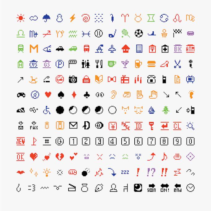 The original 176 emoji, NTT DOCOMO, 1999