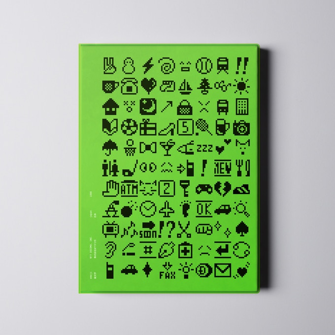 The book will be wrapped in a green vinyl jacket, a typical Japanese book making technique. The front and back covers are screenprinted with all 176 emoji.