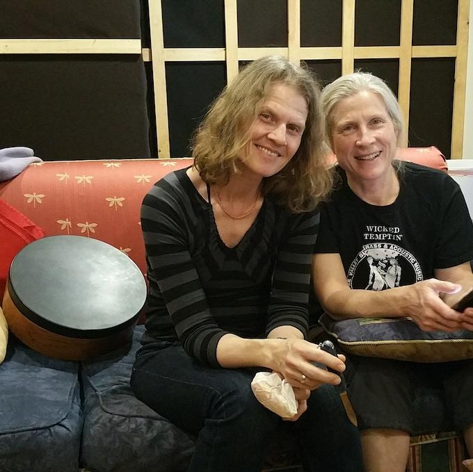 Annegret & Shirsten taking a break in the studio control room.