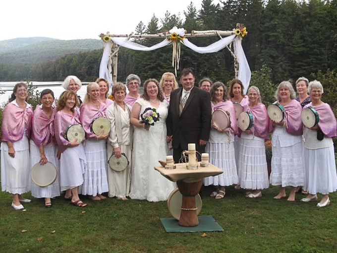 """The """"Reverend"""" Shirsten officiating Sheri's & Anthony's wedding, with a host of friends providing ceremonial and musical support. For a pledge of $5,000, Shirsten will help you plan and officiate your wedding, with Inanna providing the music!"""