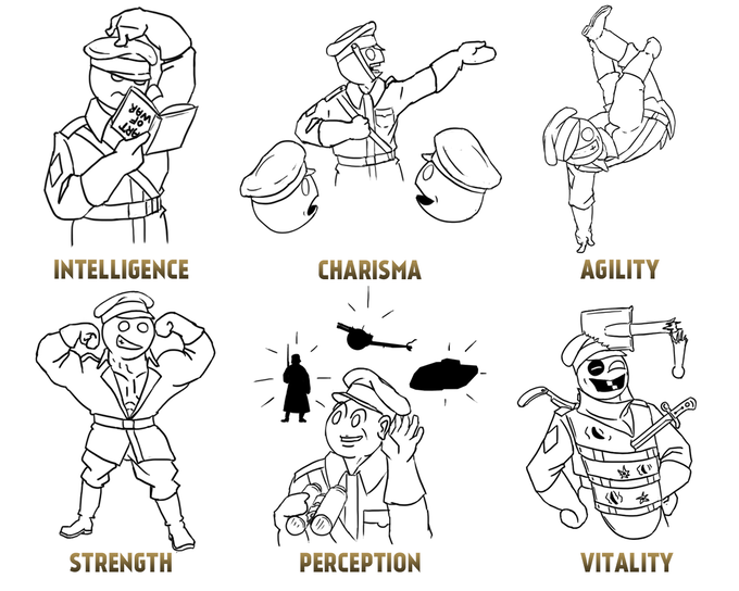 Early sketches of Army Boy mascot in different roles to illustrate attributes.