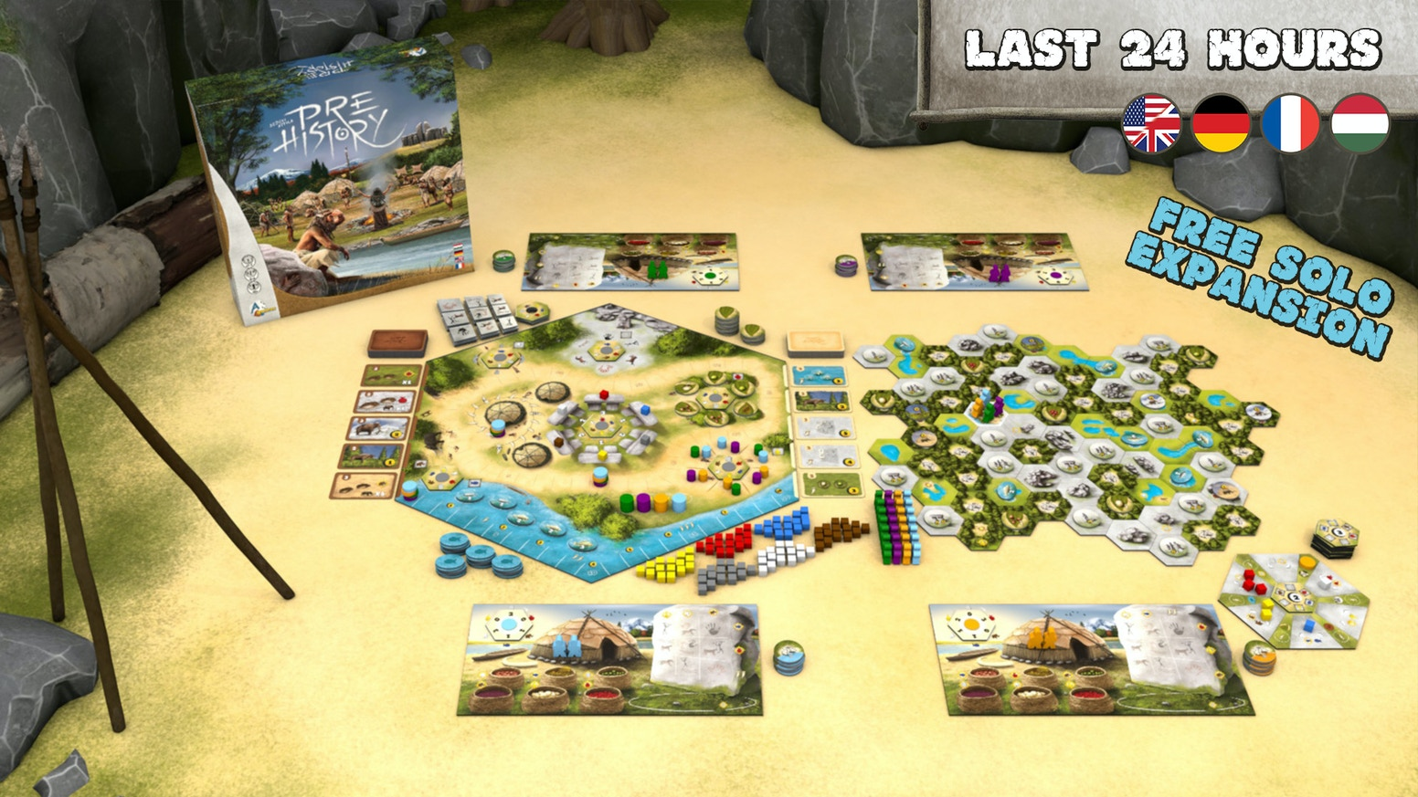 A prehistoric themed strategy board game with unique mechanisms for 1-4 players. With FREE solo mode expansion and extras.