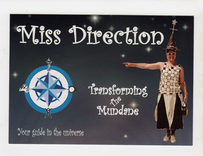 Contribute $11 or more for a signed Postcard and Directional Fortune mailed to your home by Miss Direction