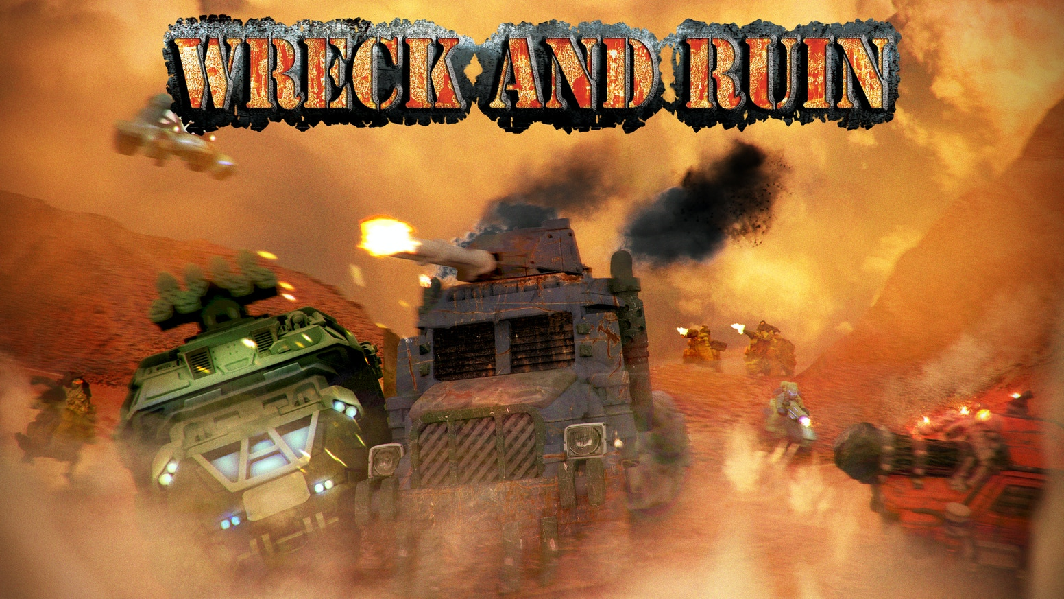 Shoot, ram, and wreck your way through the post-apocalyptic wasteland in a battle for resources and tactical domination