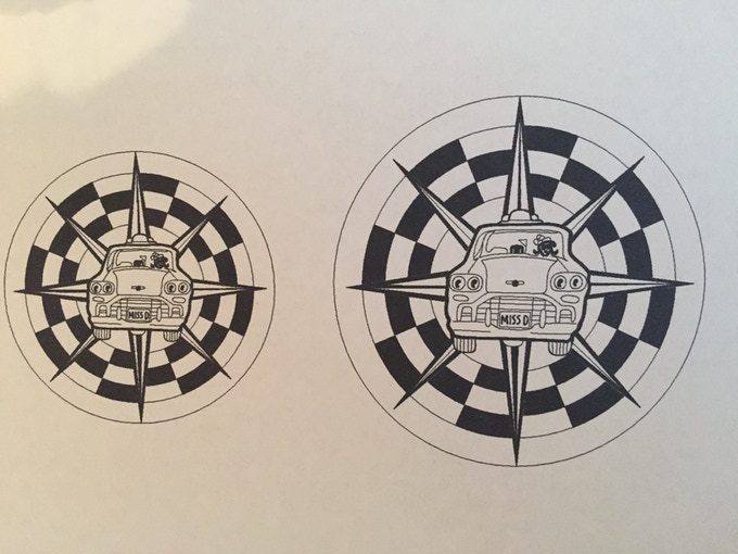Hot off the press: Miss Direction's Checker Cab Ride Service logo designed by Seattle artist Rick Klu.