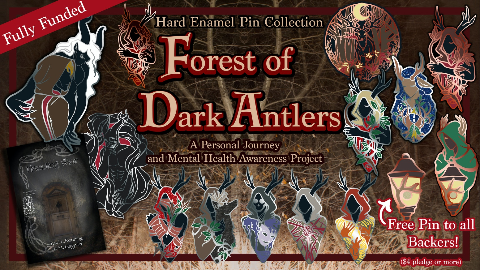Forest of Dark Antlers - Mental Health Project Pins and Art