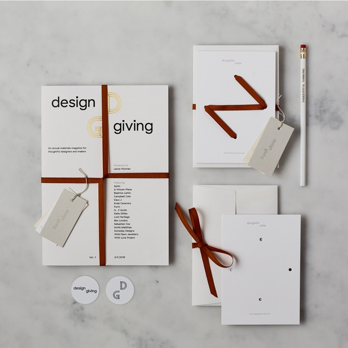 Pledge £45 or more and receive DESIGN GIVING MAGAZINE + STATIONERY PACK reward