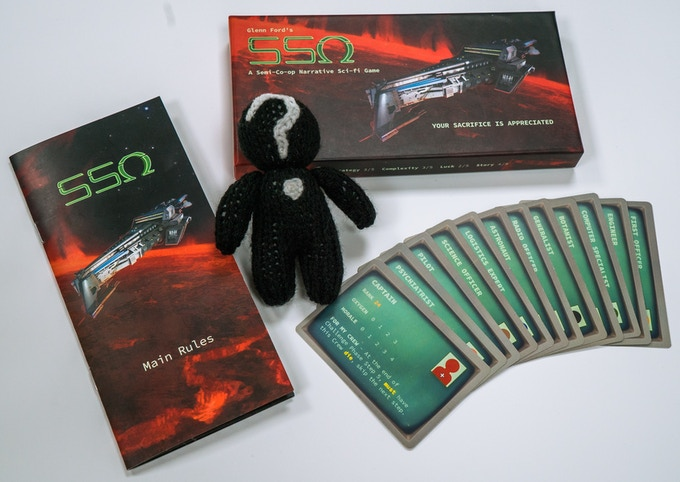 £50: Backers get SSO, unlocked Challenge Decks and a Knitted Crew, with a face and everything.