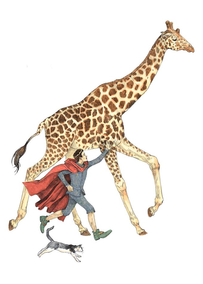 Prince running with Giraffe