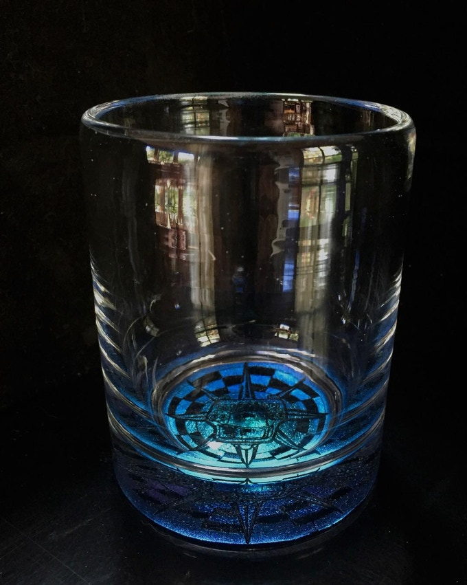Checker Cab cocktail glass by Marcia Wiley (Wileyware) for your contribution of $77 (or own a pair at $155).