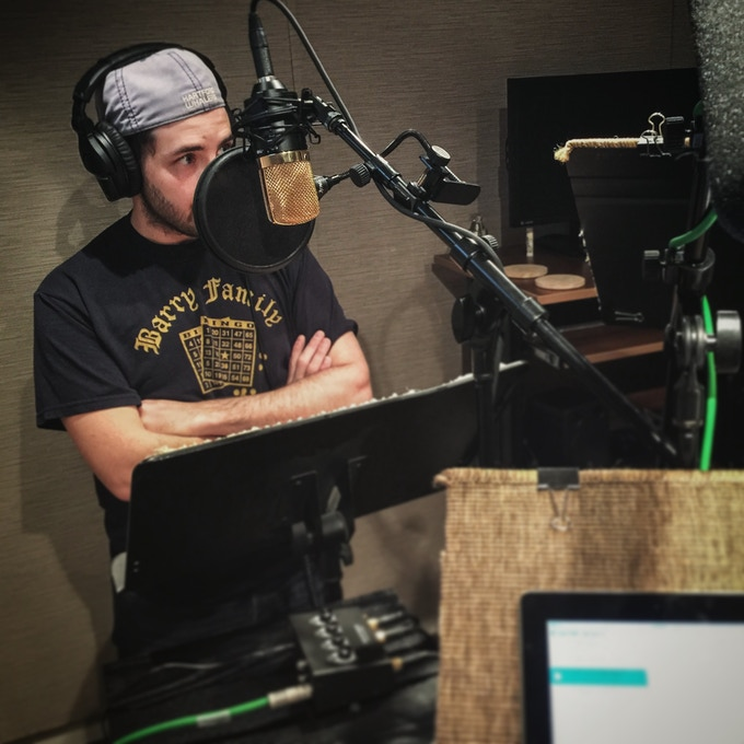 Dan Barry (Dr. Urvidian, Admiral Dalias) recording EOS 10 season 2 at the Critical Noise Lab in Silver Spring, Md.