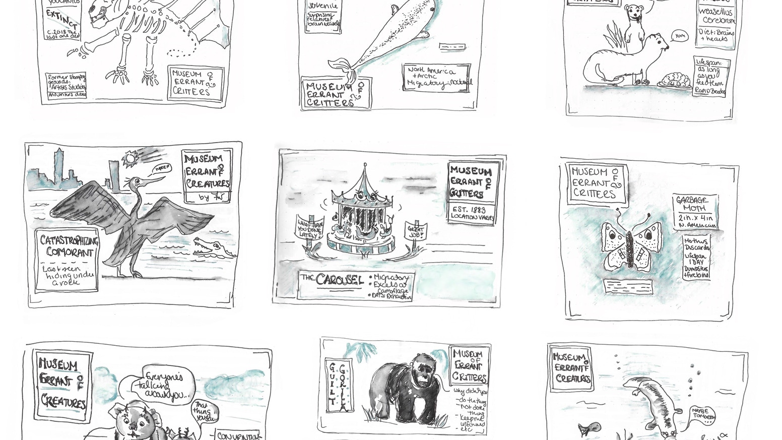 A series of sketches - various critters found inside your favorite author's head* (*ok my head). We catch 'em & draw 'em.