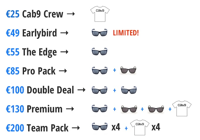 *All rewards include an unlimited use Discount Code for Cab9 Eyewear products
