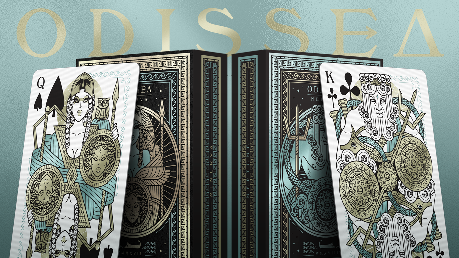 Custom poker size playing cards. Inspired by Homer's Odyssey, drawn with Thirdway Industries sharp and modern style.