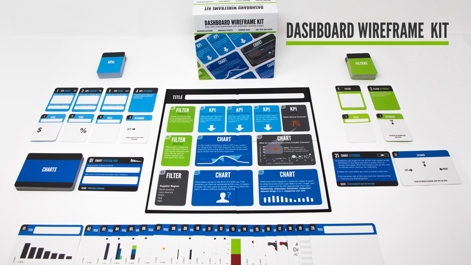 A wireframing kit for designing business dashboards.