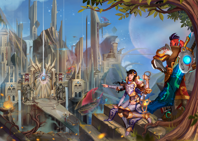 A terran seer and her Ish'ra ally look down on the gates of the Holy City of Asrai. ~Illustration by Le Minh Hoai Quoc