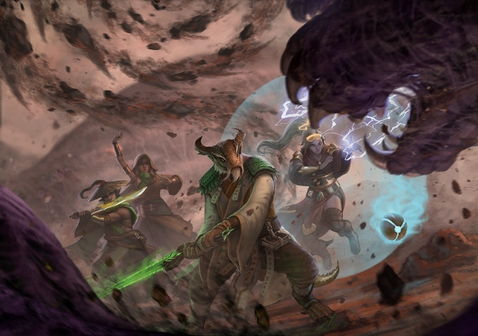 Xei, monk of the Ghost Blade leads a team against a Spawn of Galgaræ in the caverns below the Fields of Neph in eastern Shiran. ~Illustration by Septimius Ferdian.