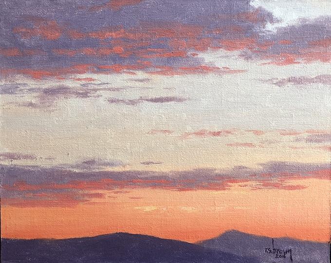8 x 10 sunset sketch by Ryan S. Brown