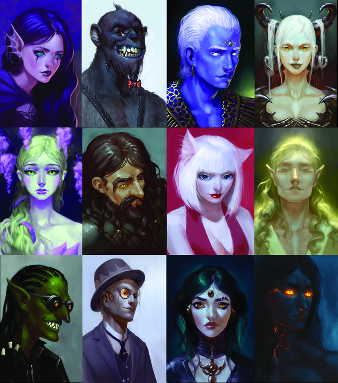 The 12 playable races, including traditional races, robots, and races unique to this game.