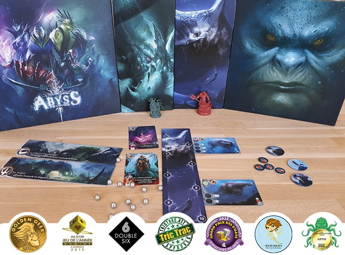 The artbook Abyss The Universe, the two expansions Kraken and Leviathan, the base game  Abyss published by Bombyx and created by Bruno Cathala and Charles Chevallier.