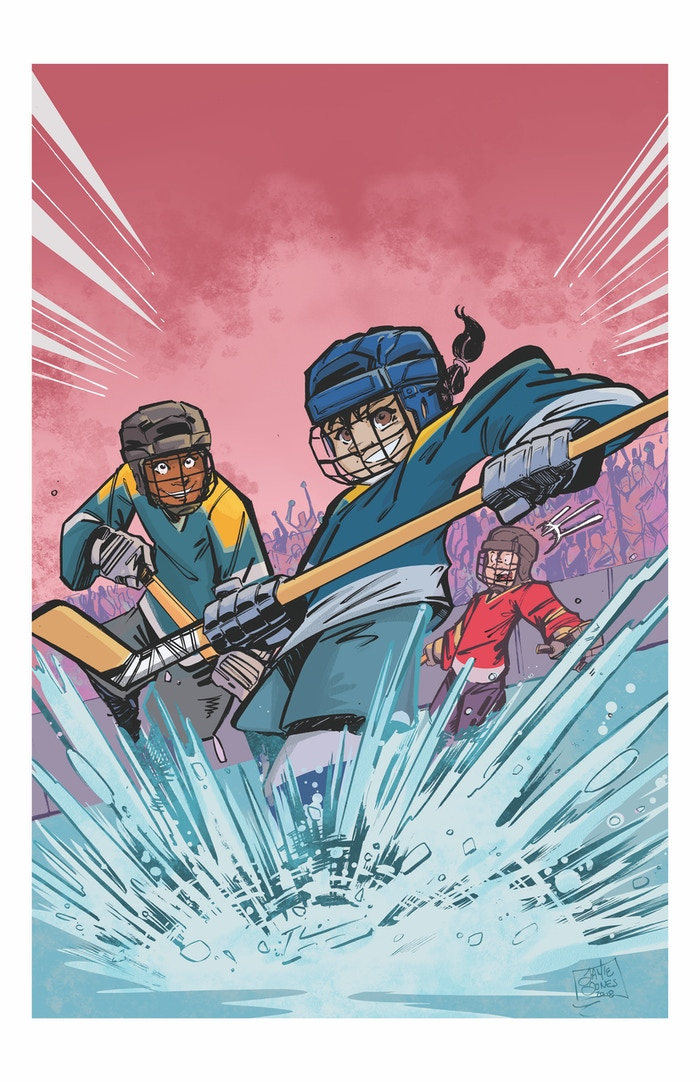 Kicking Ice art print by Jamie Jones.