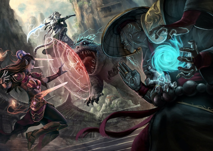 A terran monk and his allies battle a summoned servant of the Cult of Galgaræ. ~Illustration by Septimius Ferdian