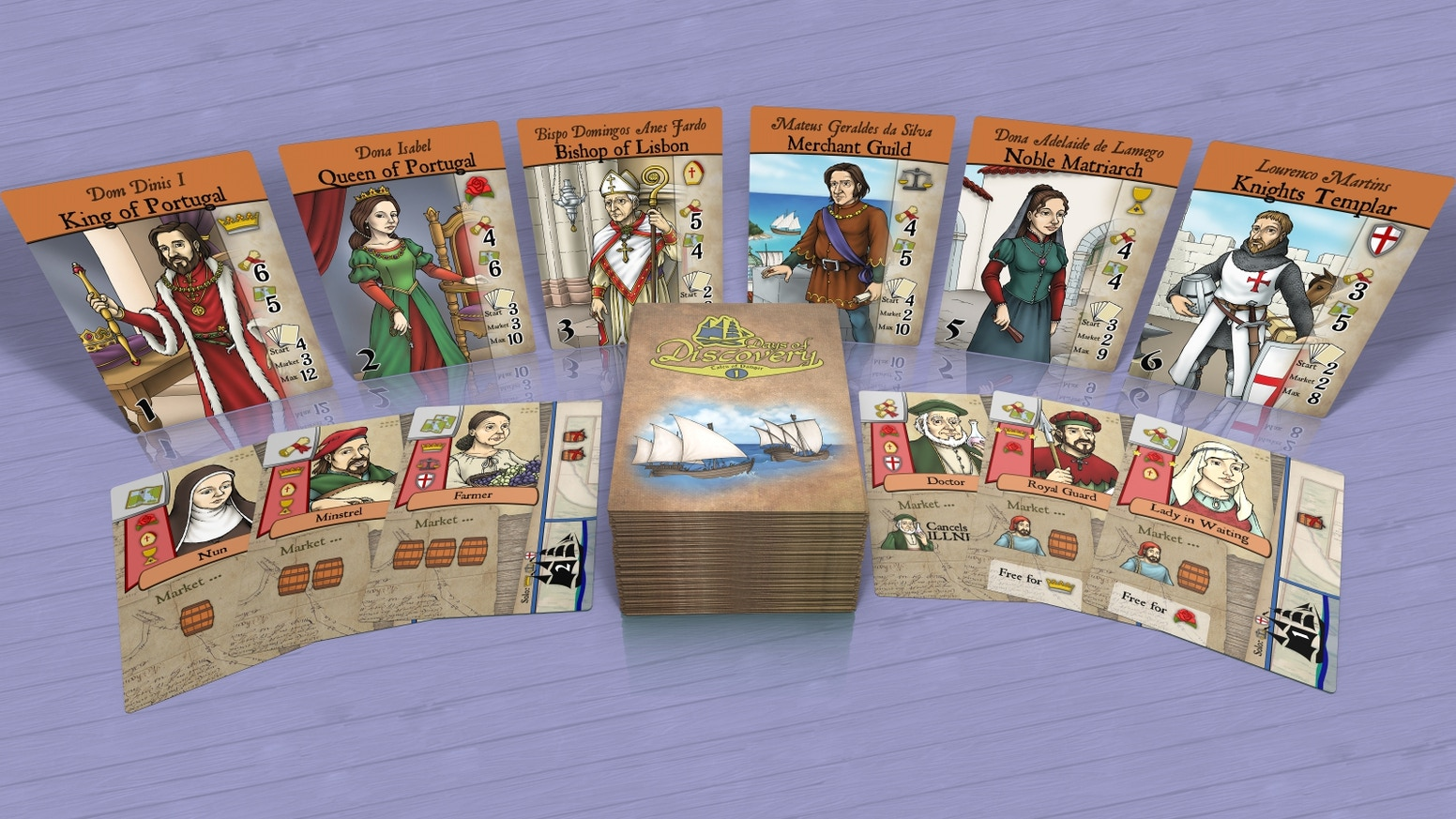 Discover a new legendary land in this 3-act card game for 1-6 players, set in Portugal in 1290. The first game in a multi-game series.