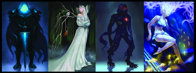 Some of the artwork available as backer rewards.