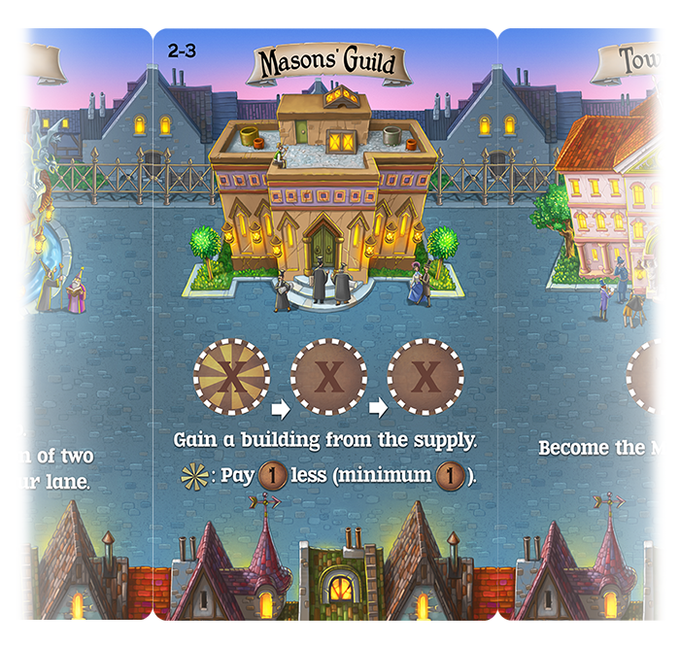 "Eight ""Main Street"" cards have action spaces to place pennies or citizens. The Mason's Guild lets you gain new building cards for your lane."