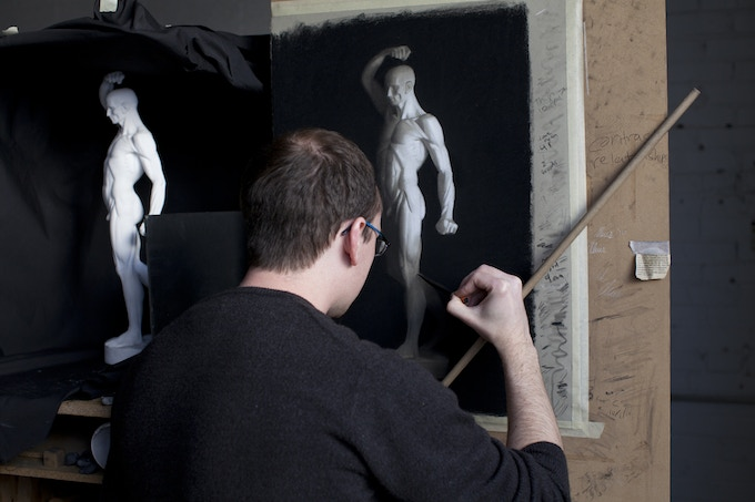 Masters Academy of Art student completing a cast drawing