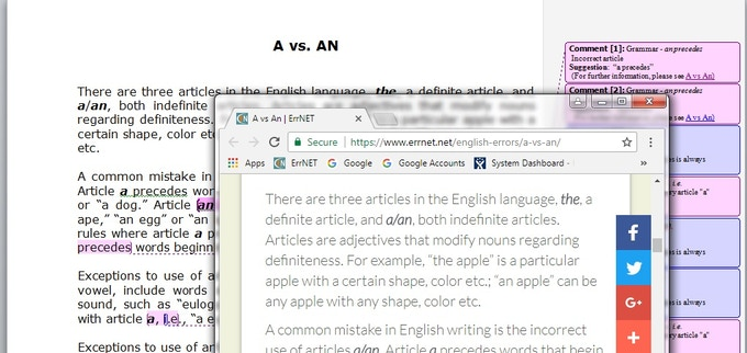 Figure 2. ErrNET in action with a Microsoft Word file.