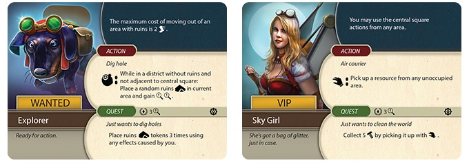 Civilian cards provide special passive and active abilities. Complete their quests to reward insight and renown.